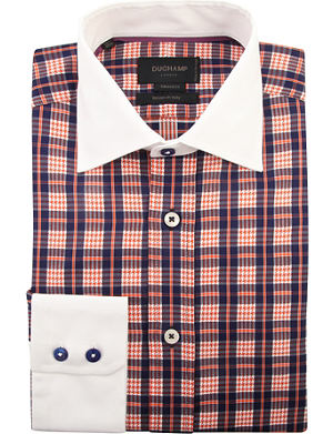 DUCHAMP Checked tailored-fit single-cuff shirt