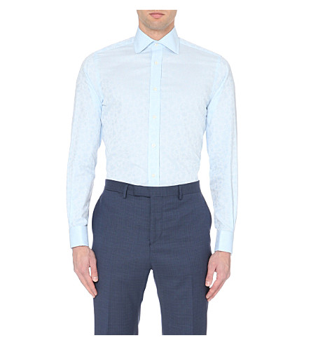DUCHAMP Tailored-fit floral-jacquard shirt (Blue