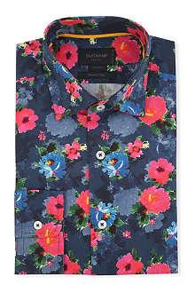 DUCHAMP Floral-print tailored-fit single-cuff shirt