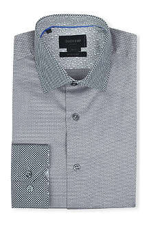 DUCHAMP Honeycomb-contrast slim-fit single-cuff shirt