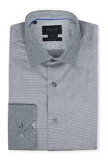 DUCHAMP Honeycomb-contrast slim-fit single-cuff shirt