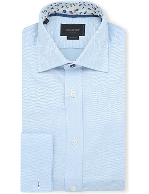 DUCHAMP Herringbone slim-fit double-cuff shirt