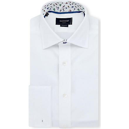 DUCHAMP Herringbone slim-fit double-cuff shirt (White