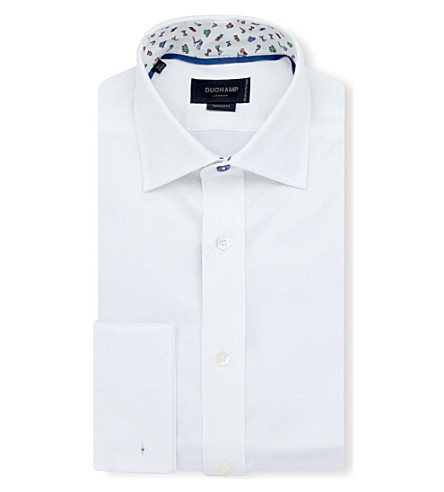 DUCHAMP Herringbone slim-fit double-cuff shirt (White