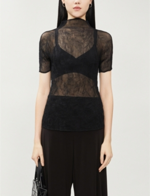 Pleated semi-sheer chiffon top
