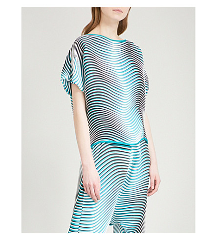ISSEY MIYAKE Flow striped pleated top (Turquoise