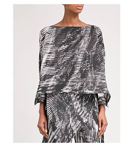 ISSEY MIYAKE Double Stream pleated top (Grey+multi