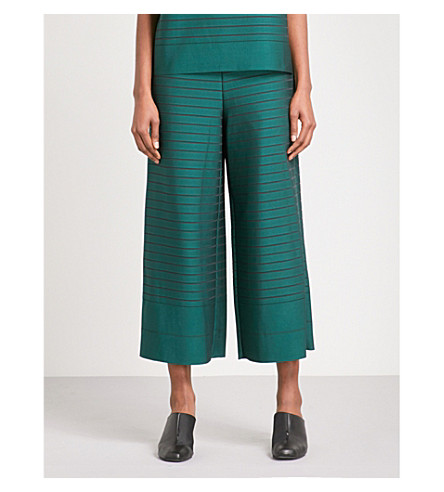 ISSEY MIYAKE Woody Ripple wide-leg striped trousers (Dark+green