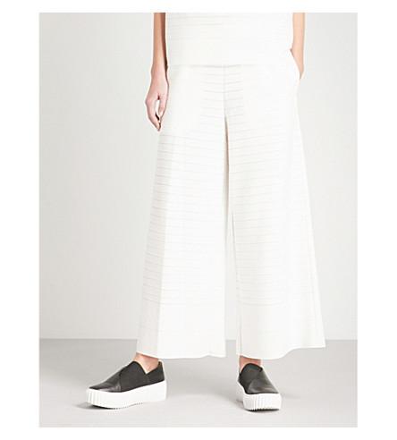 ISSEY MIYAKE Woody Ripple wide-leg striped pants (White