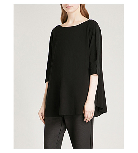 ISSEY MIYAKE Striped woven top (Black