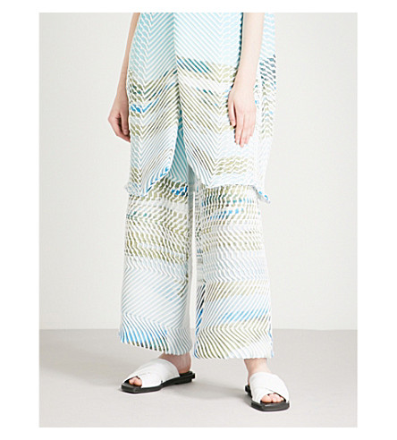ISSEY MIYAKE Textured high-rise straight pleated trousers (Tq+blue+hued