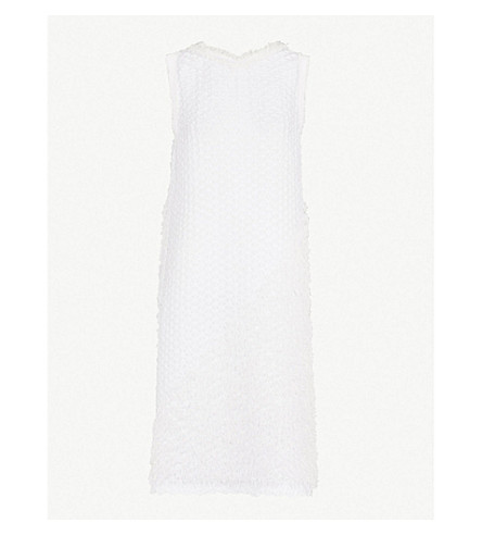 ISSEY MIYAKE Geometric-pleated textured dress (White