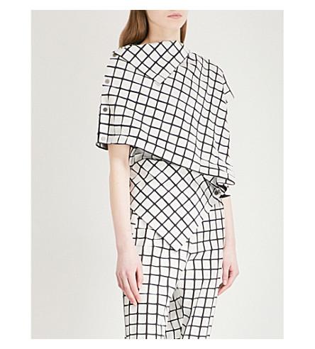 ISSEY MIYAKE Checked textured top (Black/white