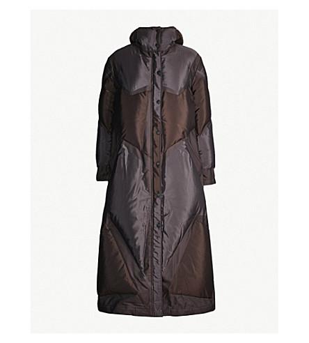 ISSEY MIYAKE Platinum shell-down coat (Dark brown