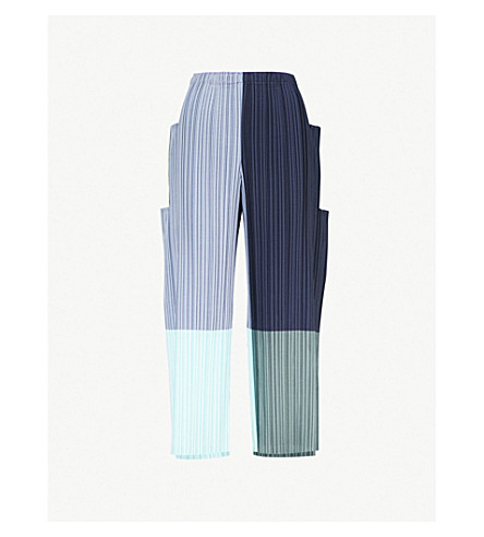 ISSEY MIYAKE Stair relaxed-fit pleated trousers (Blue-hued