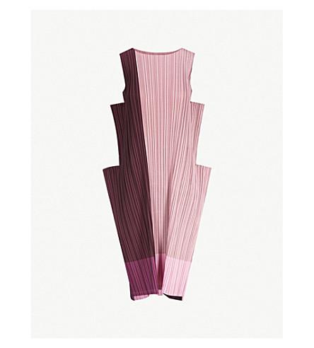 ISSEY MIYAKE Stair pleated midi dress (Bordeaux-hued