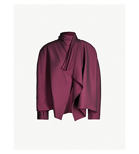 ISSEY MIYAKE Cosmic Ripple stretch-jersey cardigan (Bordeaux