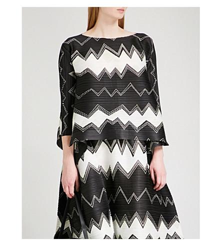 PLEATS PLEASE ISSEY MIYAKE Gizagiza geometric-print pleated top (Monochrome