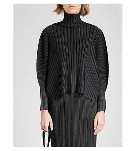 PLEATS PLEASE ISSEY MIYAKE Puff-sleeve pleated top (Black