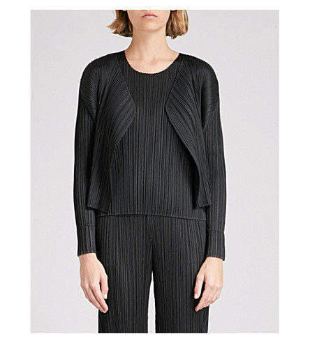 PLEATS PLEASE ISSEY MIYAKE Open-front pleated jacket (Black