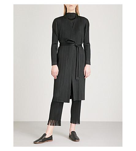 PLEATS PLEASE ISSEY MIYAKE Belted pleated coat (Black