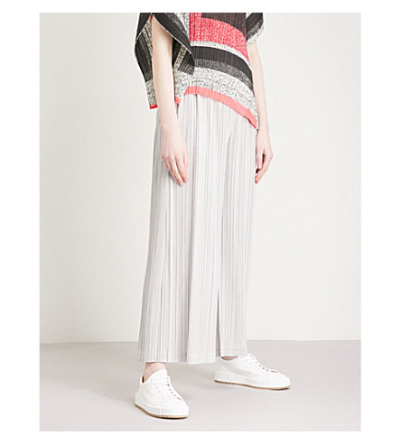 PLEATS PLEASE ISSEY MIYAKE Thick Bottom wide-leg high-rise pleated trousers (Silver+grey