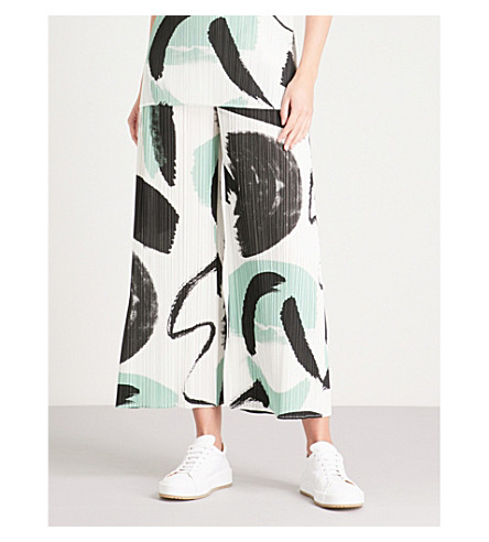 White Brush ISSEY trousers cropped Stroke MIYAKE pleated PLEASE wide PLEATS leg qOwvPn