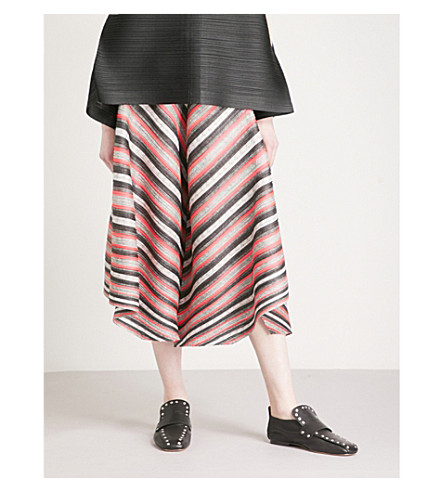 PLEATS PLEASE ISSEY MIYAKE Union Stripe wide-leg cropped pleated trousers (Pink+stripe
