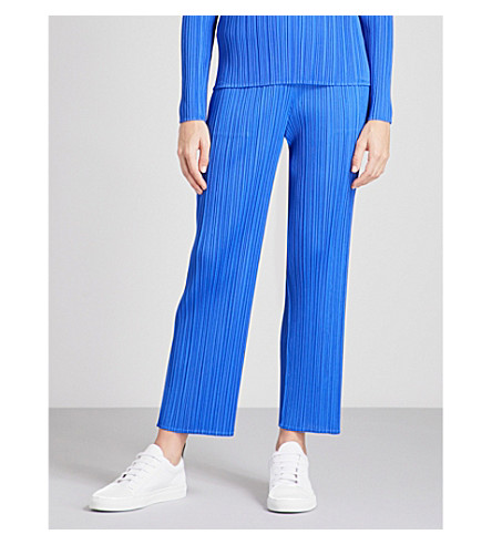 PLEATS PLEASE ISSEY MIYAKE Basics cropped pleated trousers (Blue