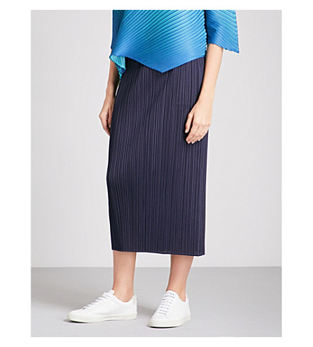 PLEATS PLEASE ISSEY MIYAKE Basics high-rise pleated skirt (Navy
