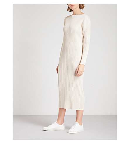 PLEATS PLEASE ISSEY MIYAKE Long-sleeved pleated dress (Ivory