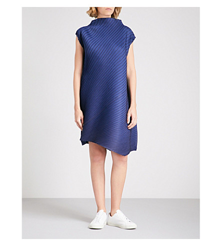 PLEATS PLEASE ISSEY MIYAKE High-neck pleated dress (Navy