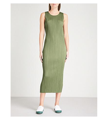 PLEATS PLEASE ISSEY MIYAKE Sleeveless pleated midi dress (Khaki