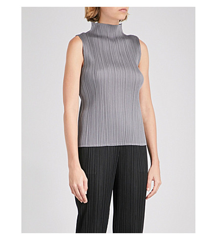 PLEATS PLEASE ISSEY MIYAKE Sleeveless pleated top (Gray