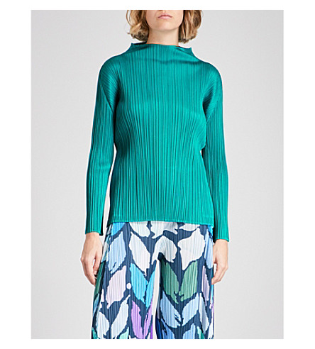 PLEATS PLEASE ISSEY MIYAKE High-neck pleated top (Teal