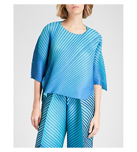 PLEATS PLEASE ISSEY MIYAKE Relaxed-fit double-faced pleated top (Blue