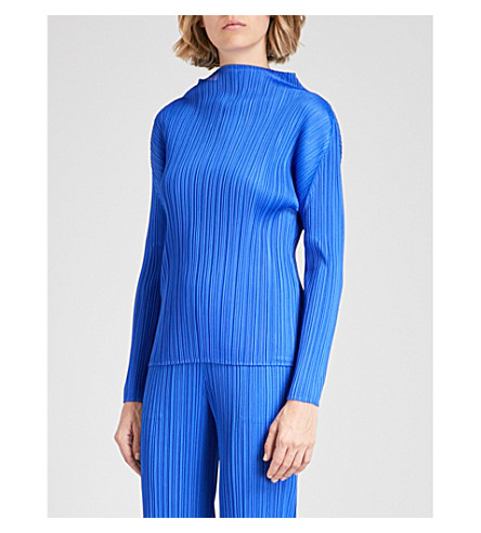 PLEATS PLEASE ISSEY MIYAKE Basics high-neck pleated top (Blue
