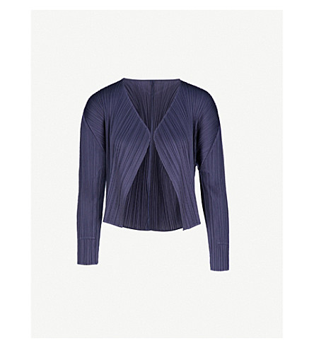 PLEATS PLEASE ISSEY MIYAKE Open-front pleated cardigan (Navy
