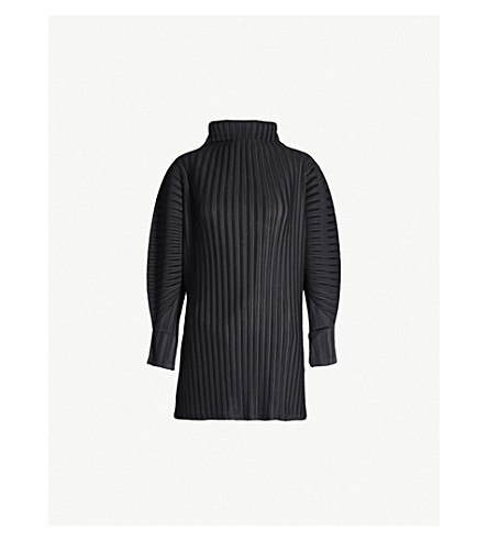 PLEATS PLEASE ISSEY MIYAKE High-neck pleated top (Black
