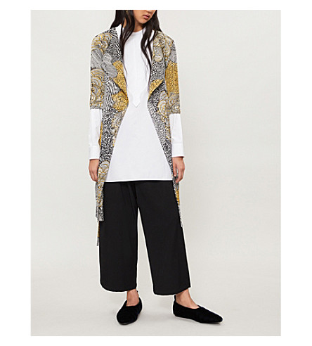 PLEATS PLEASE ISSEY MIYAKE Mass floral-print pleated coat (Yellow