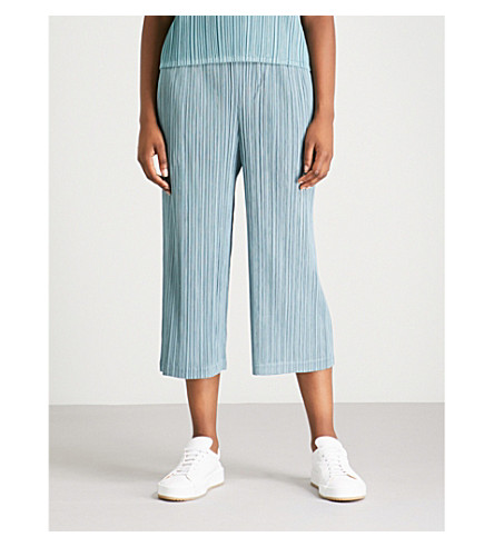 PLEATS PLEASE ISSEY MIYAKE Thicker wide-leg cropped pleated trousers Steal blue Really Cheap Price IHdIaq5m
