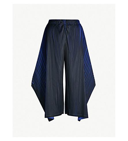 PLEATS PLEASE ISSEY MIYAKE Alt Neon wide-leg cropped pleated pants (Blue