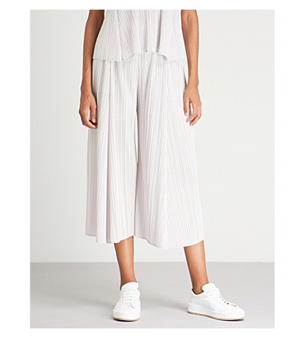 Wide trousers pleated PLEASE MIYAKE ISSEY Silver white leg PLEATS qZtwB17ZH