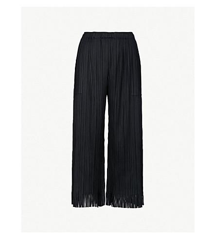 PLEATS PLEASE ISSEY MIYAKE Fringe wide-leg cropped pleated trousers (Black