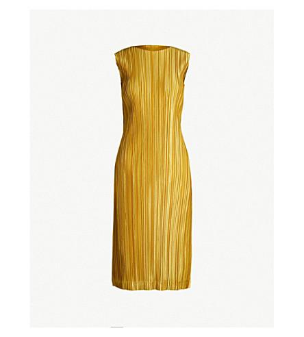 PLEATS PLEASE ISSEY MIYAKE Shiny Pleats round-neck pleated dress (Gold