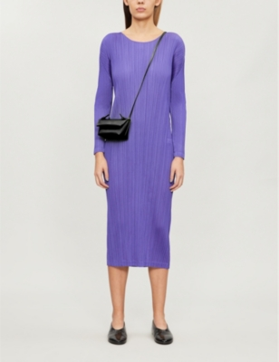 Pleated long-sleeved woven midi dress