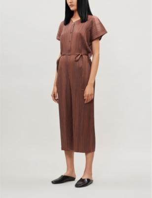 Pleated woven jumpsuit