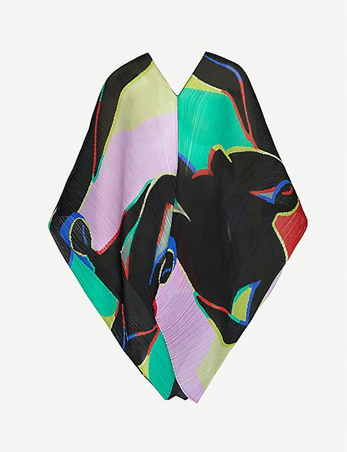 PLEATS PLEASE ISSEY MIYAKE 放松抽象印花褶纺织上衣