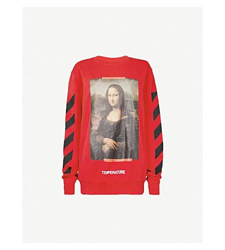 OFF-WHITE C/O VIRGIL ABLOH 蒙娜丽莎平纹针织棉卫衣 (红 + 黑 + + 男
