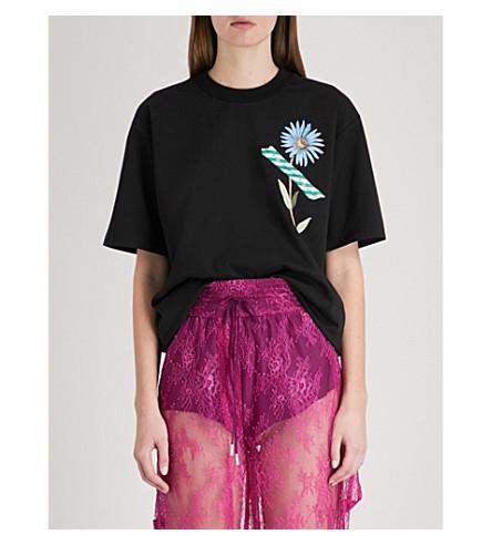 OFF-WHITE C/O VIRGIL ABLOH Flower tape-print jersey T-shirt (Black+multico